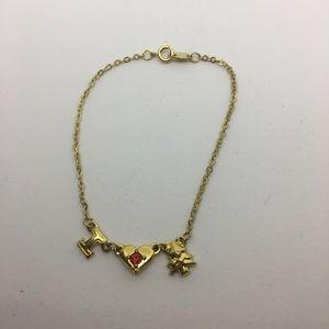 Avon I heart Christmas tree gold tone bracelet
